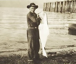 Fort Seward soldier with halibut.