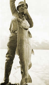 Fort Seward soldier with king salmon.